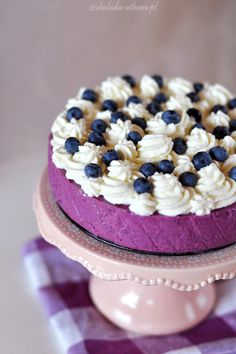 blueberry cheesecake with whipped cream.