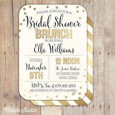 Gold Confetti Bridal Shower Invitation Bridal Shower Printable Invitation OR Printed Card for Rachael!
