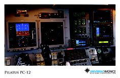"""Universal Avionics: Pilatus PC-12 - (1) Display Suite: 2 EFI-890R 8.9"""" Flat Panel Displays; (2) Situational Awareness: 1 Vision-1 Synthetic Vision System, 1 Application Server Unit (ASU) for Jeppesen charts, checklists, weather and E-DOCS"""