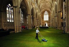 York Minster Cathedral interior covered in grass.