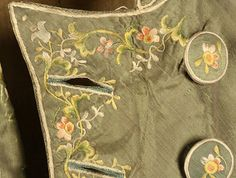 This coat was made in 1792, the silk is embroidered along the edges and on the buttons, from @Karen Jacot Jacot Jacot Jacot Jacot Bitterman Museum of Art #fashion #history