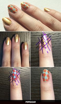 Give Your Nails a Bronzed Glow With Geometric Nail Art
