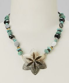Take a look at this Turquoise & Sterling Silver Star Shell Pendant Necklace by Barse on #zulily today!