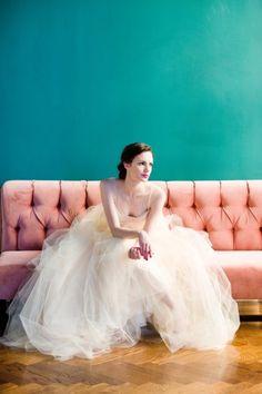 Tulle Wedding Dress - bride poses