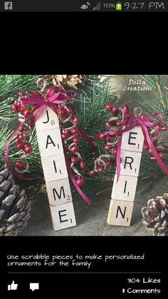 name tags, craft, scrabbl tile, gift ideas, scrabble tiles, gift tags, christmas ornaments, christmas gifts, scrabble letters