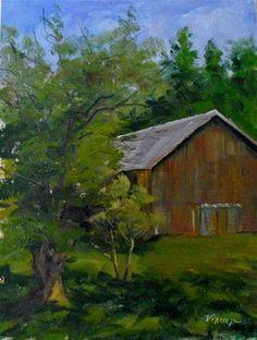 """Stanford Barn ~ 12x9~ oil on linen"" - $300.00 Original Fine Art for Sale - © Vincenza Harrity"