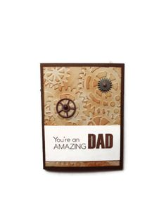 Fathers Day Card Gears Brown Card