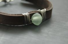 Wire Wrapped Beaded and Leather Bracelet - Tree