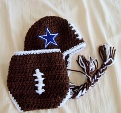 Baby Hat -  NFL Football Hat -Football Hat and Cover- Dallas Cowboys -Crochet Newborn Football Hat -  Baby Boy Earflap Hat -by JoJosBootique. $42.00, via Etsy.