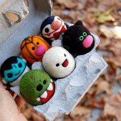 Needle Felted Halloween Egg Set