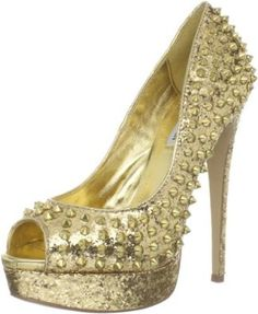 wow...i want this one like NOW!! stylish high heeled golden color ladies shoe ♥