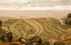 With a rake as his only tool, San Francisco based artist Andreas Amador creates large scale sand paintings primarily on beaches along the California coast. Andreas usually waits for a full moon to make sure the ocean's tides are low enough for him to complete his designs before they're permanently washed away. Honestly beautiful.