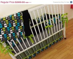 December SALE--- Crib Bedding MADE TO Order Groovy Guitar Baby Bedding. $350.10, via Etsy.