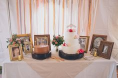 cake table with vintage photos