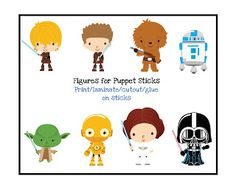 Star Wars puppet stick printables.