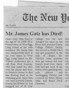 gatsbys obituary Obituaries/in memoriam  gatsby's seafood and steakhouse how to find it: 203 center, bay city prices: appetizers range from $295 to $675 soup costs $295 for a cup $395 for a bowl and.