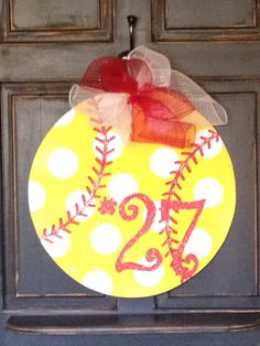 Hey, I found this really awesome Etsy listing at https://www.etsy.com/listing/186529699/softball-door-hanger