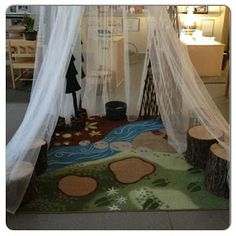 Liking the tree stumps in this quiet area, great for a home library for kids to study in.