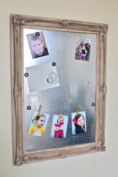 cute way to rotate photos and free up space on the fridge
