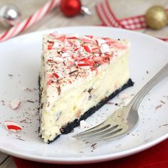White Chocolate Peppermint Bark Cheesecake by @Tracey Fox Fox Wilhelmsen (Tracey's Culinary Adventures)
