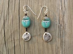 Czech Turquoise Scarab Earrings with Black by CrowsNestTreasures, $25.00