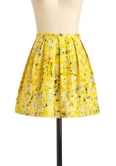 Process of Lemon-ation Skirt by Jack by BB Dakota - Yellow, Print, Blue, Black, White, Pleats, Casual, A-line, Spring, Short