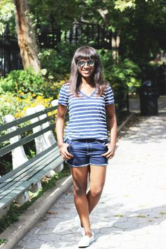 Blogger Star Crossed Smile embraces the last days of summer in her Gap denim cut offs.