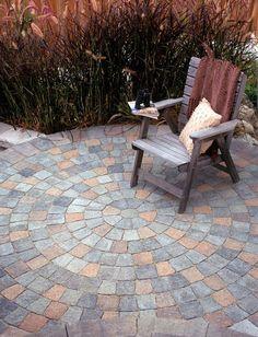 Spiral design paver patio.