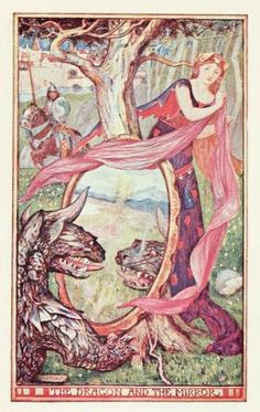The brown fairy book (c1904)  illustrations by Henry Justice Ford    The Dragon and the Mirror