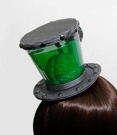 mini top hats, steampunk top hat, party hats, scientist steampunk, steampunk brain