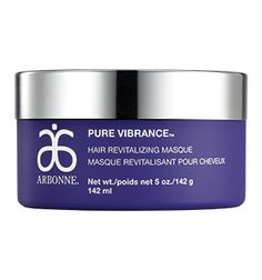Order now. Go to arbonne.com and enter id # 13567114 to get started.  Sign up to be a Preferred Client and get 20% off products and be eligible for special promos. Pure Vibrance #Hair Revitalizing #Masque - Deep penetrating masque starts at the root to help soften and restore hairs strength and luster by adding back moisture destroyed during the color treatment process. Exclusive ColorLast Technology fortifies hair strands to retain vibrant color.