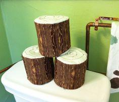 Mini Log Toilet Paper Roll Holder. $10.00, via Etsy. Clever!