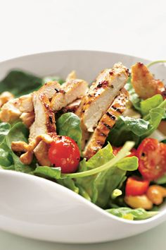 Grilled Chicken, Spinach and Cashew Salad with Honey Mustard Dressing