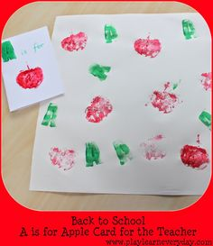 Play and Learn Everyday: Back to School - A is for Apple Card for the Teacher