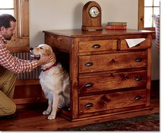 Looking for a dog crate that is not an eyesore! This is interesting: repurpose a dresser!