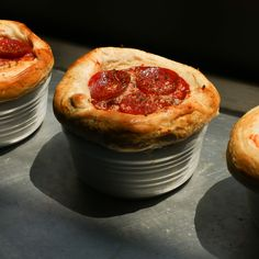 This pizza pot pie has another pizza on top of it, of course