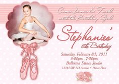 "Ballet Birthday Invitation Printable File DIY - 5x7"" Ballerina Birthday Invitation DIY. $12.00, via Etsy."