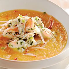 101 Healthy Soup Recipes | Golden Peach Soup with Shrimp and Crab Seviche | CookingLight.com