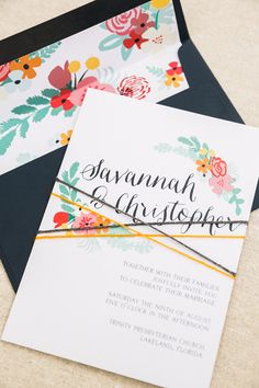 floral wedding invitations, photo by Justin DeMutiis Photography http://ruffledblog.com/sorosis-building-wedding #weddinginvitations #stationery