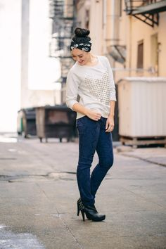 Studs & printed jeans = on trend perfection! #ThisisStyle #shop #cbias