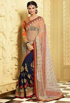 Elegant Navy Blue and Cream Embroidered #Saree