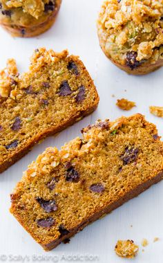 Super moist Chocolate Chip Zucchini Bread with a buttery oat streusel, brown sugar, and lots of sweet spices.