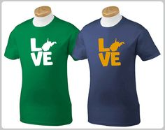 Love My State: West Virginia T-Shirt (MADE TO ORDER). $15.00, via Etsy.