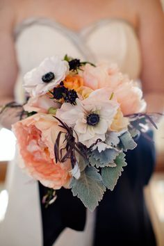 white flowers, sullivan owen, bridal bouquets, peach weddings, black weddings, wedding bouquets, wedding flowers, peonies, anemones