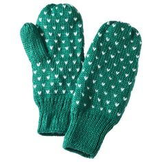 Holiday #coloroftheyear-inspired gift idea for the college student: Xhilaration Green Birdseye Mittens from @Target, $10.39