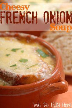 Cheesy French Onion Soup at wedofunhere.com