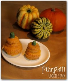 A pumpkin cookie stack - a great treat for Halloween - cookies stacked into the shape of pumpkins