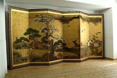 WAJIN b96 Japanese antique BYOBU folding floor screen PINE TREE & SAKURA,BIRDS 16c on EBay