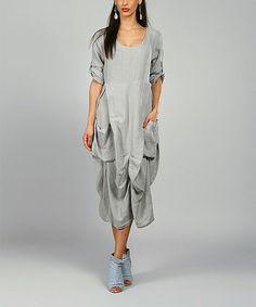 Look what I found on #zulily! Gray Pamela Linen Scoop Neck Dress #zulilyfinds