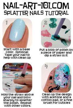 splatter nail art tutorial #DIY